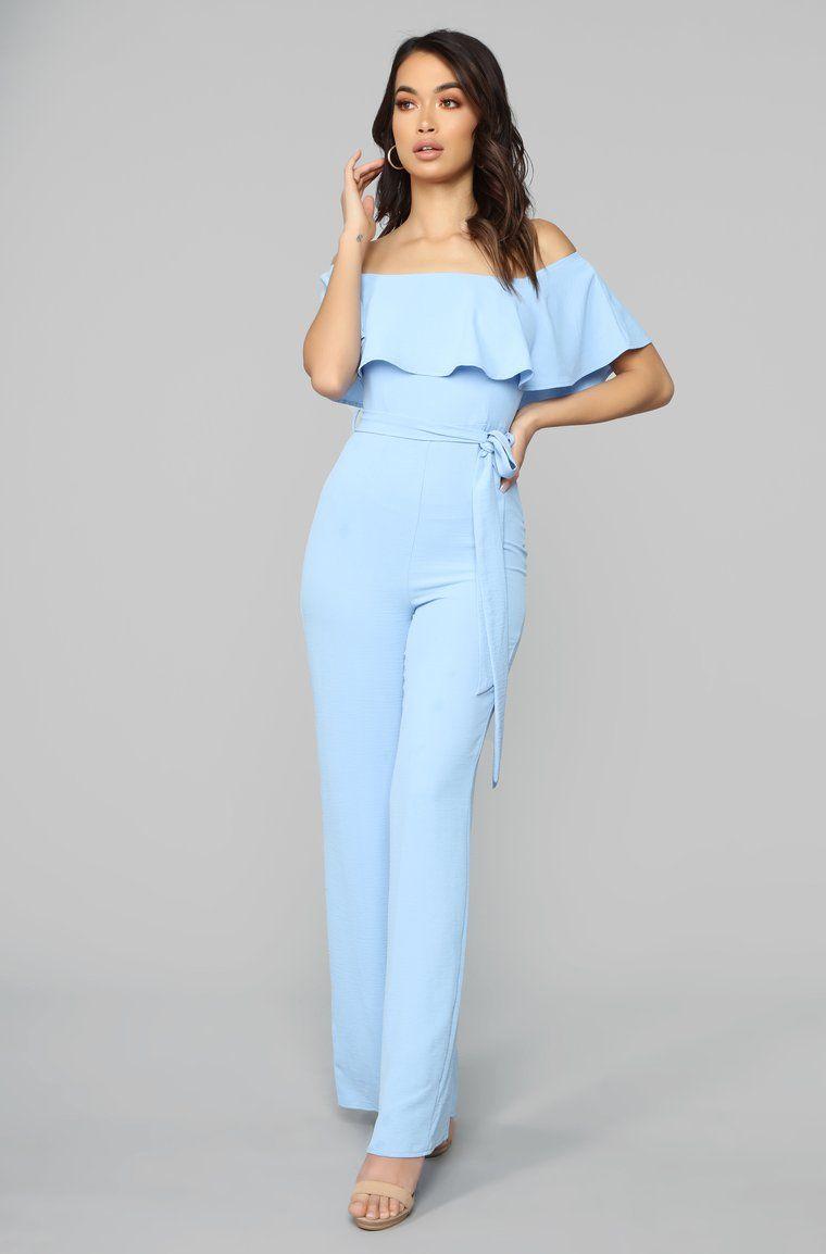 Pretty Girl Flounce Wide Leg Jumpsuit - Light Blue