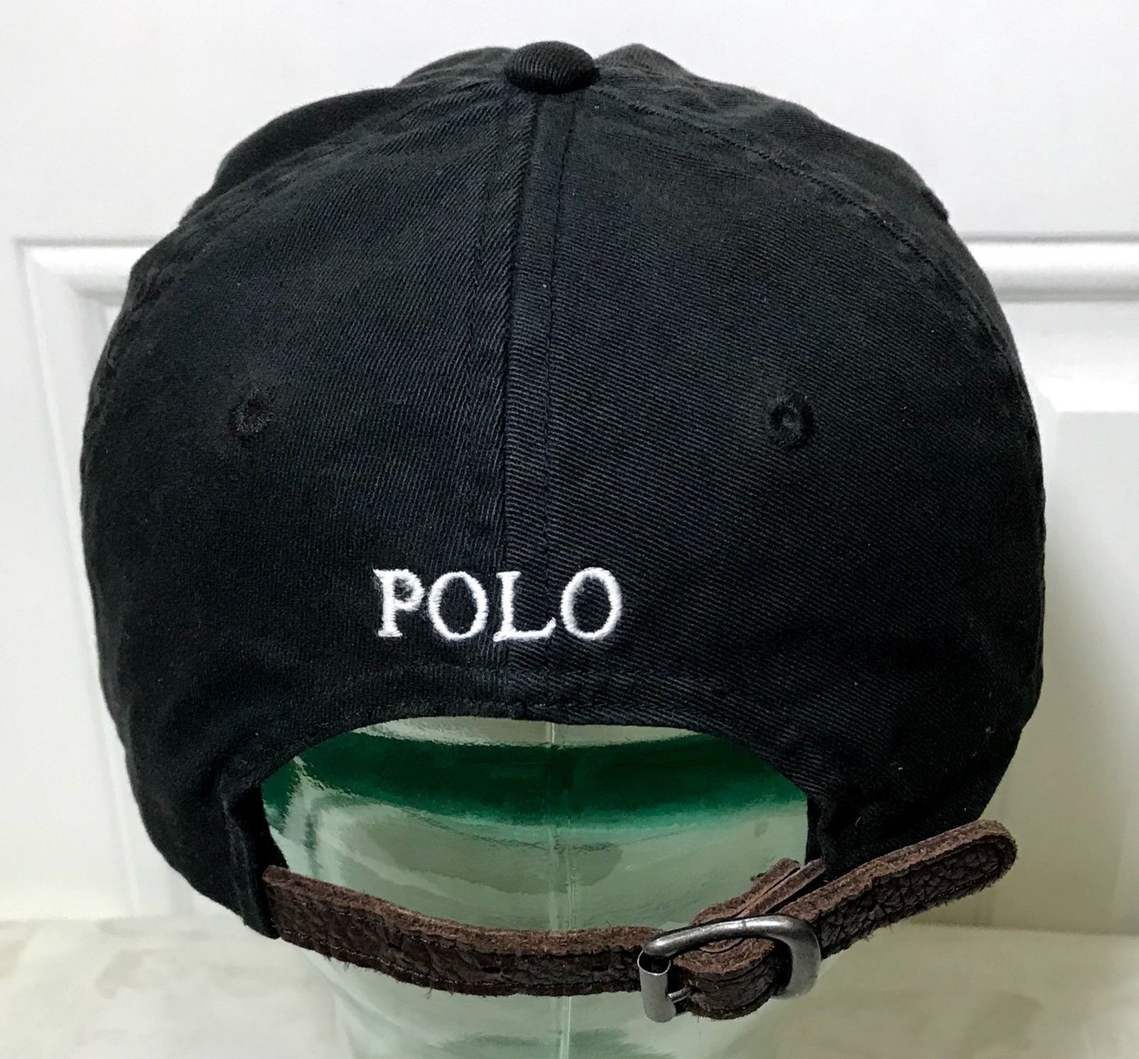 bb3a6bb03a876 Polo Ralph Lauren Hat Leather Strap Pony Black Vintage 90s Dad Cap Spell  Out