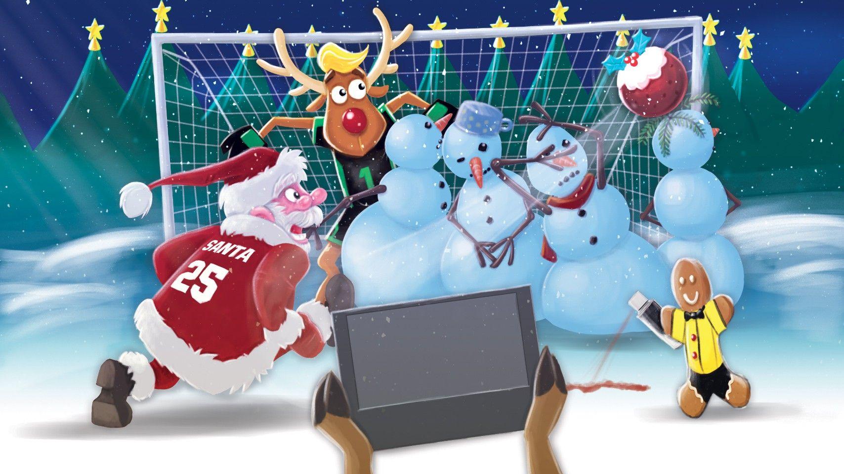 CHRISTMAS SANTA AND REINDEER FOOTBALL