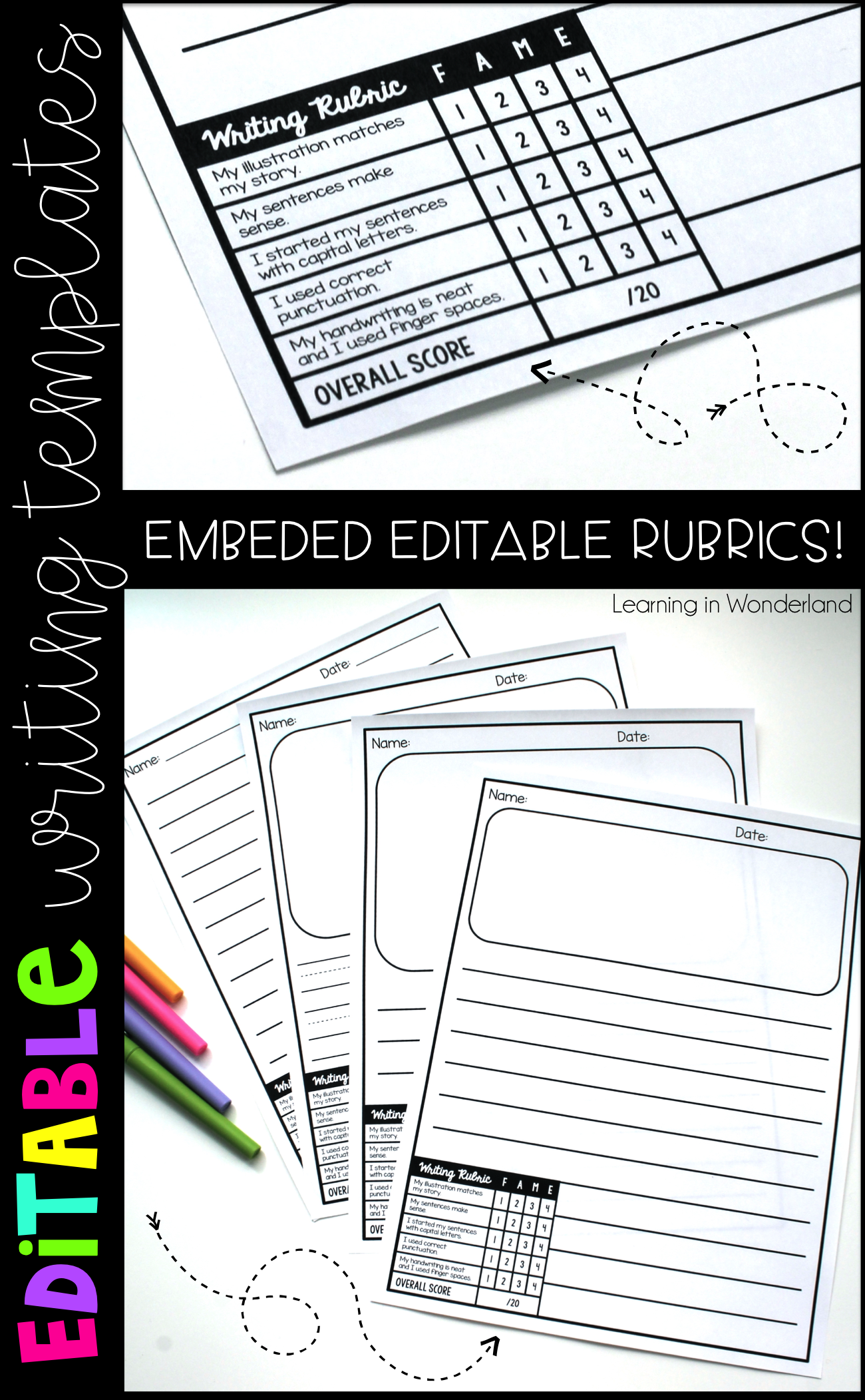 Is grading your students' writing a struggle? This writing paper has rubrics embedded right on the page and makes grading a snap! Multiple lined templates are included in this printable. This is a classroom must in primary classrooms. The kindergarten version has more room for larger writing with a large picture box. First and second grade students can use all of the templates included depending on their ability level. Differentiation has never been easier!