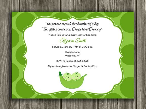 Printable Two Peas In A Pod Baby Shower Invitation Twins Free Thank You Card Included Party Package Decorations Available
