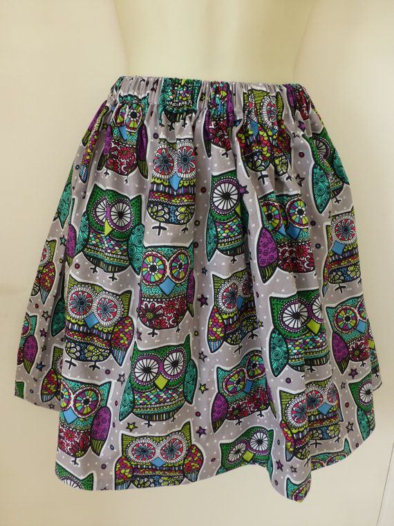 Gray/Purple/Green Decorated Owl Cotton Fabric by StitchAnnStyle, £20.00