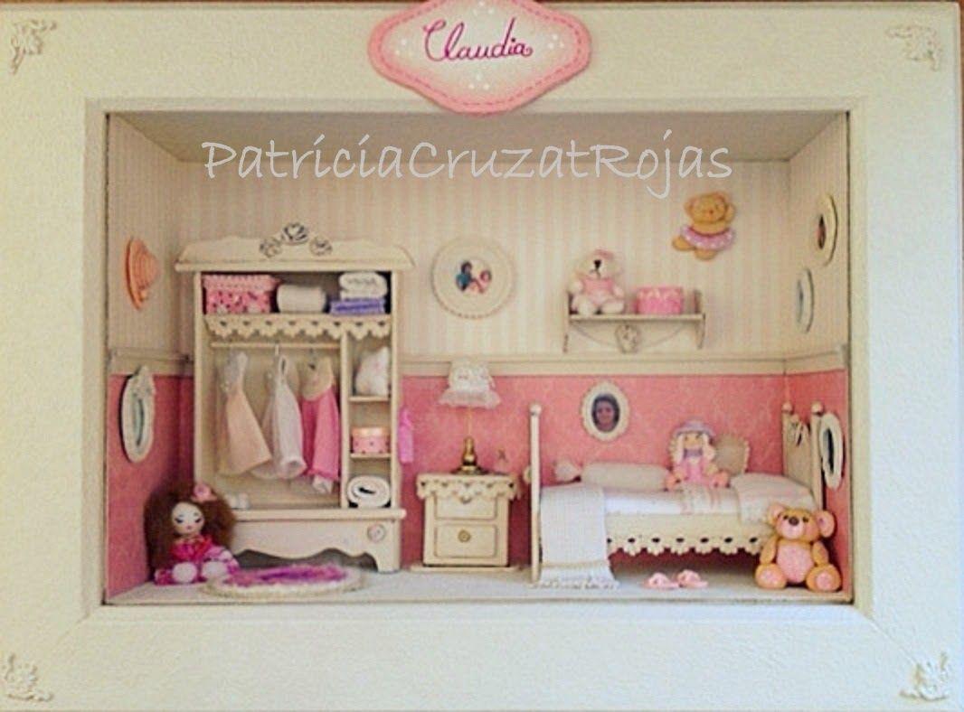 Cuadro Dormitorio de Niña con miniaturas. Colores Rosa, crema y ...