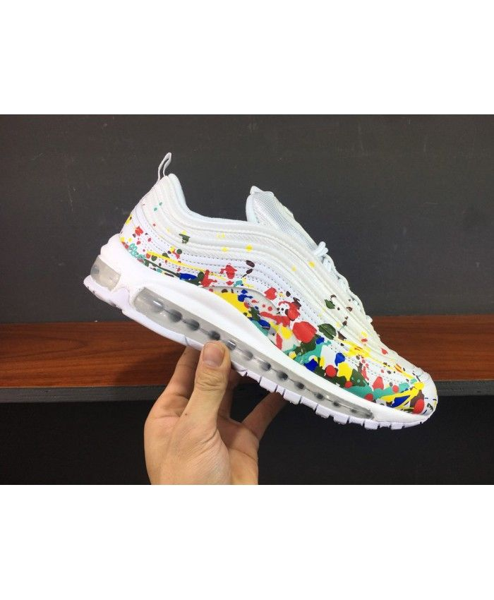 Women s Nike Air Max 97 Rainbow Paint Splatter White Trainer fd27112a9