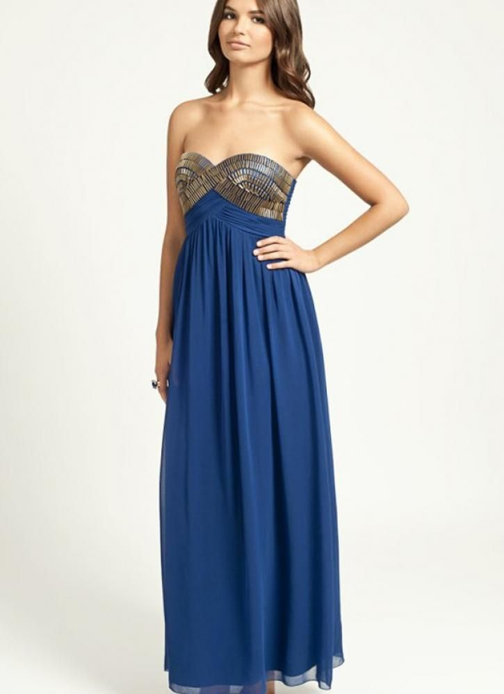 Blue Strapless Maxi Dress