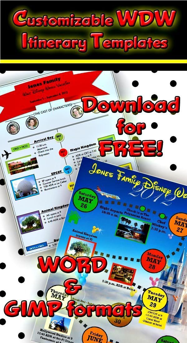 Custom Disney World Itinerary Templates  Free Printable Disney