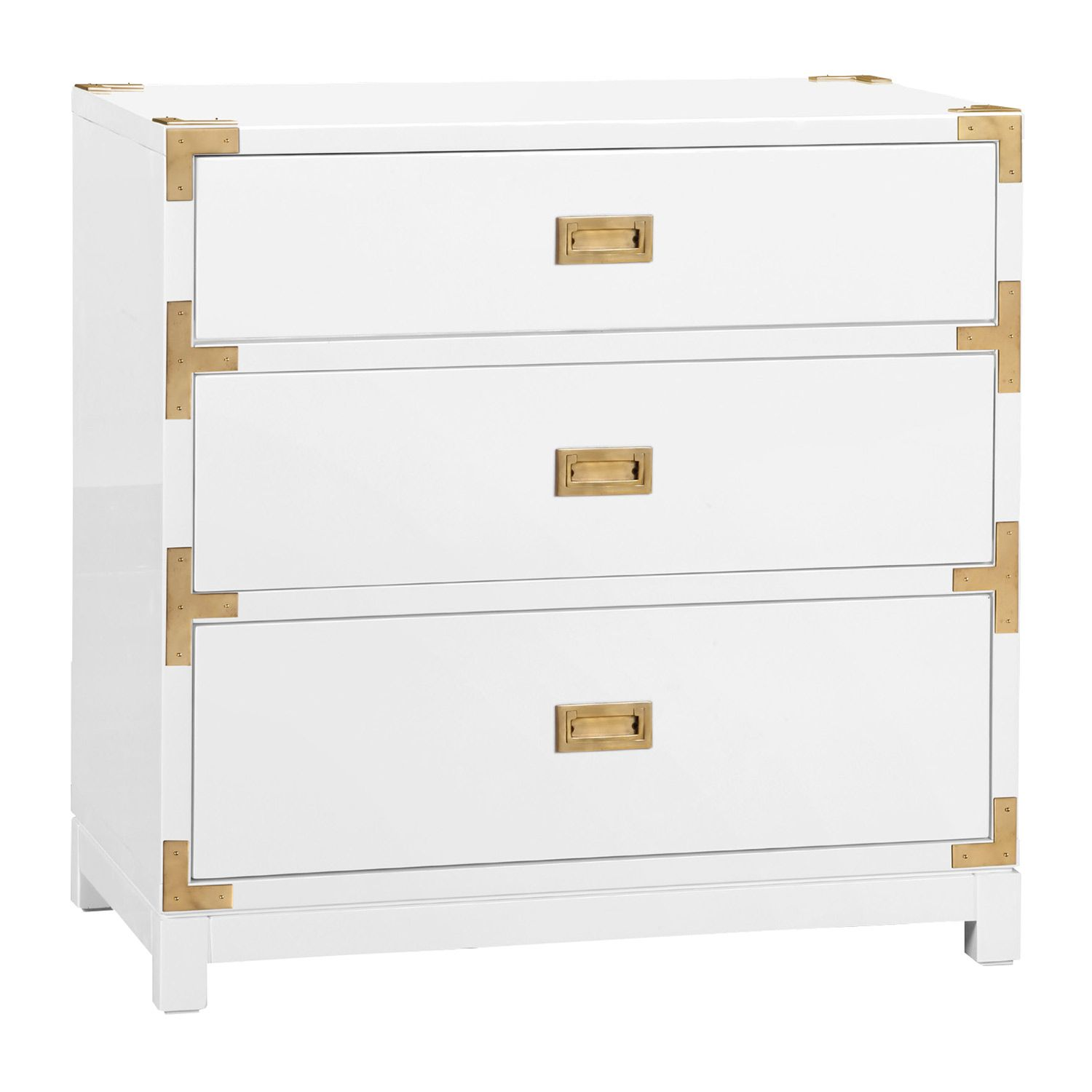 The Bungalow 5 Victoria Side Table Provides A Bold Take On Classic Campaign Style Accenting A Glossy White Side Tables White High Gloss Dresser White Dresser