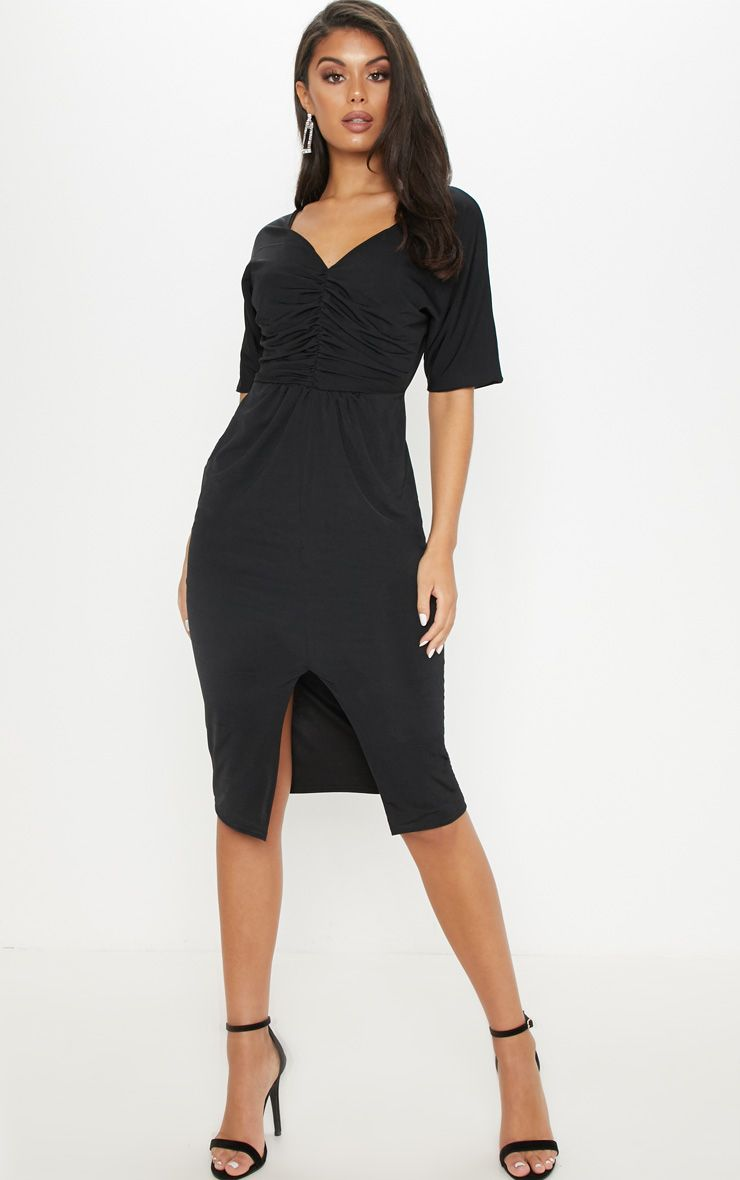 c326b4ca9394 Black Slinky Ruched Top Batwing Midi Dress in 2019 | Products ...