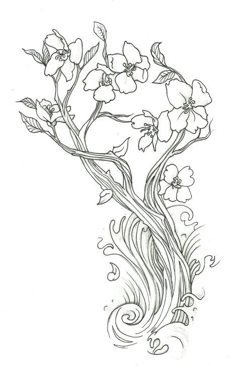 Lovely Cherry Blossom Flower Doodler Art Coloring Page Free