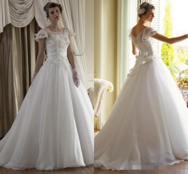 New Collection Vintage Wedding Dresses 2015 Cap Sleeve Organza Sash Spring A-Line Bridal Ball Dress Gowns Lace Cheap Sheer Chapel Train Online with $126.39/Piece on Hjklp88's Store