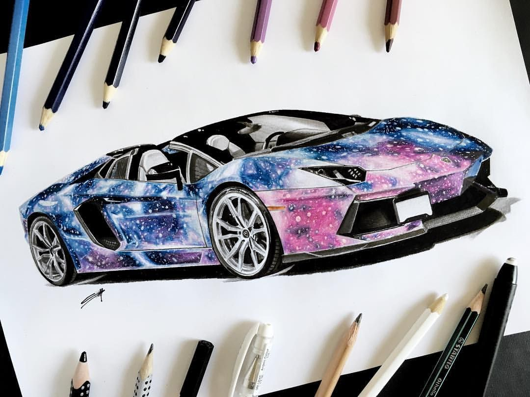 Galaxy Aventador Cardrawing Sketching Sketch Carsketch Sketches Cardrawing Lamborghini Lambo Aventa Car Drawings Drawing Artwork Car Design Sketch