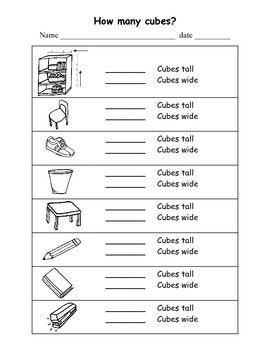 Measuring With Snap Cubes Measurement worksheets, Cube