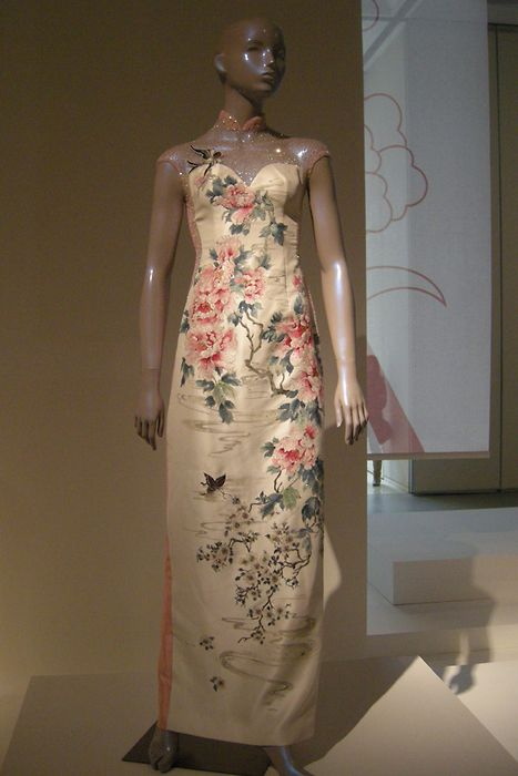 2c15789ff Guo Pei, silk cheongsam, peony flowers embroidered on off white silk ...