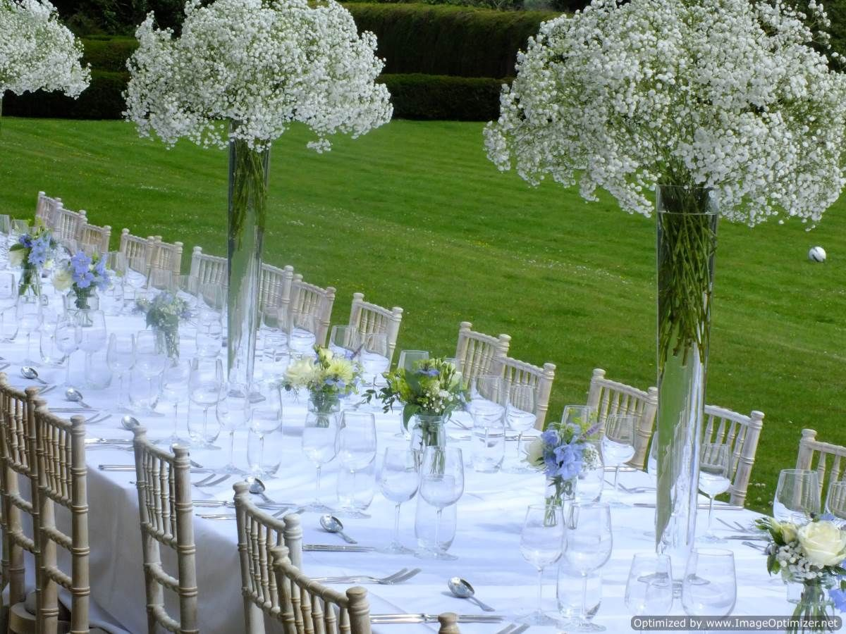 Beautiful blue and white table flower arrangements tall vases of beautiful blue and white table flower arrangements tall vases of massed gypsophila with blue and reviewsmspy