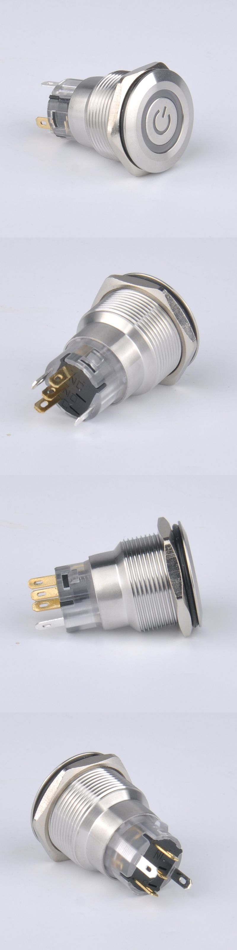 5pcs Metal Stainless Steel Pushbutton Switch With Housing Socket Is Using A To Power Ignition And Momentary Start Latching Function Ring Led