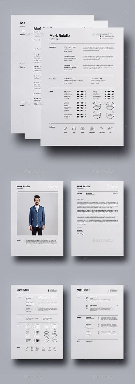 resume cv template indesign indd ms word us letter a4