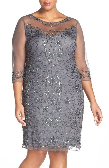 4259d2ec390 Pisarro Nights Illusion Neck Beaded Shift Dress (Plus Size) available at   Nordstrom