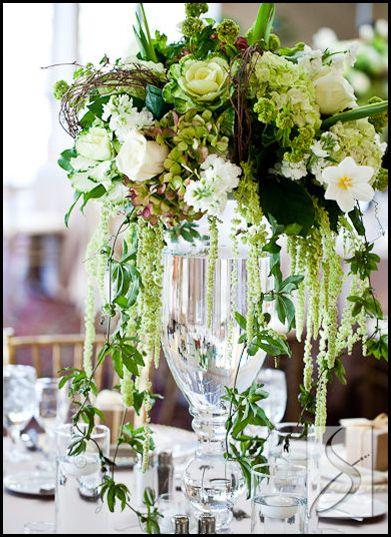 Tall garden centerpiece green wedding centerpieces
