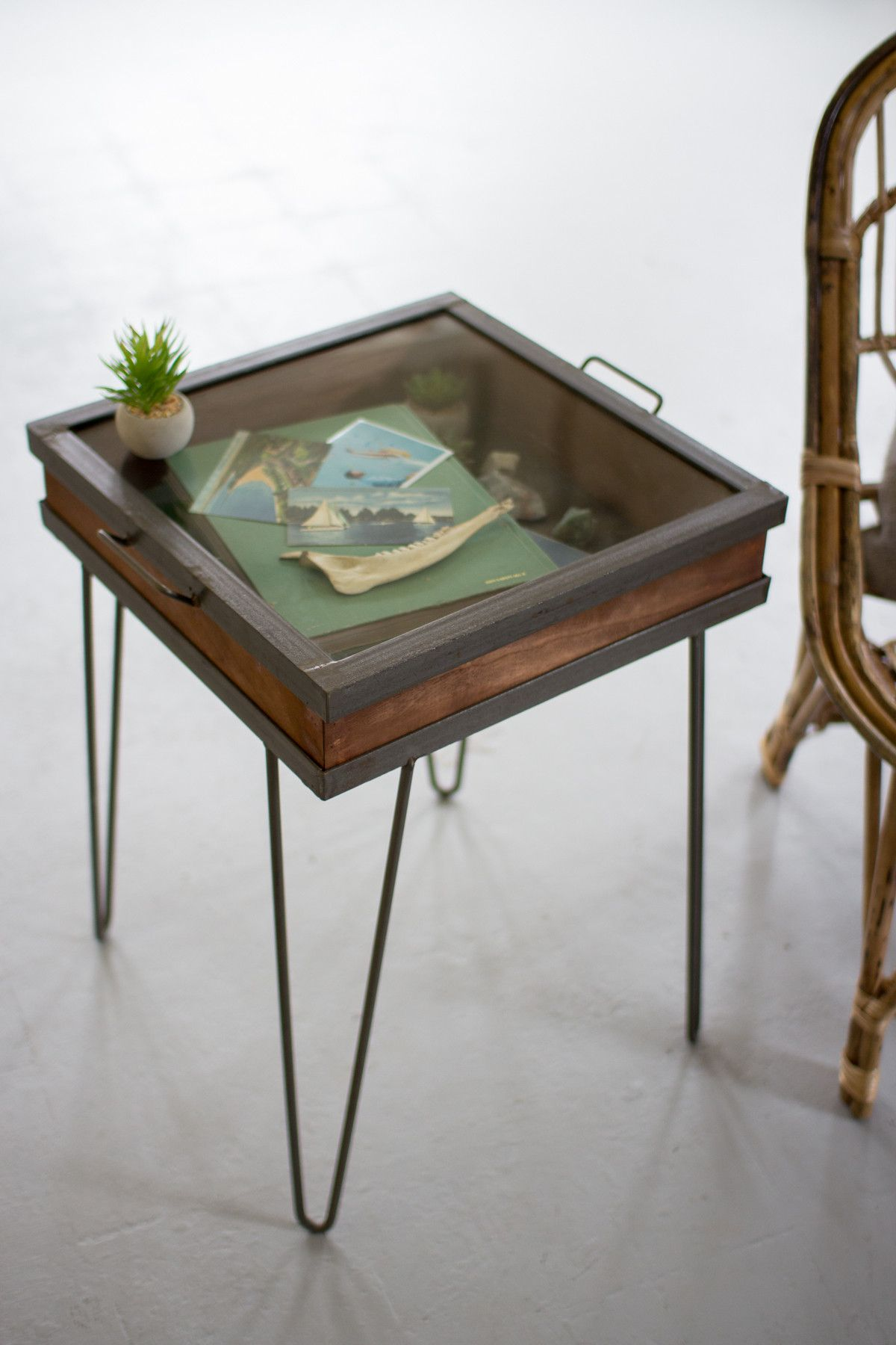 Modern glass end table  Recycled Wood And Iron Showcase Table With Glass Top  Iron Woods