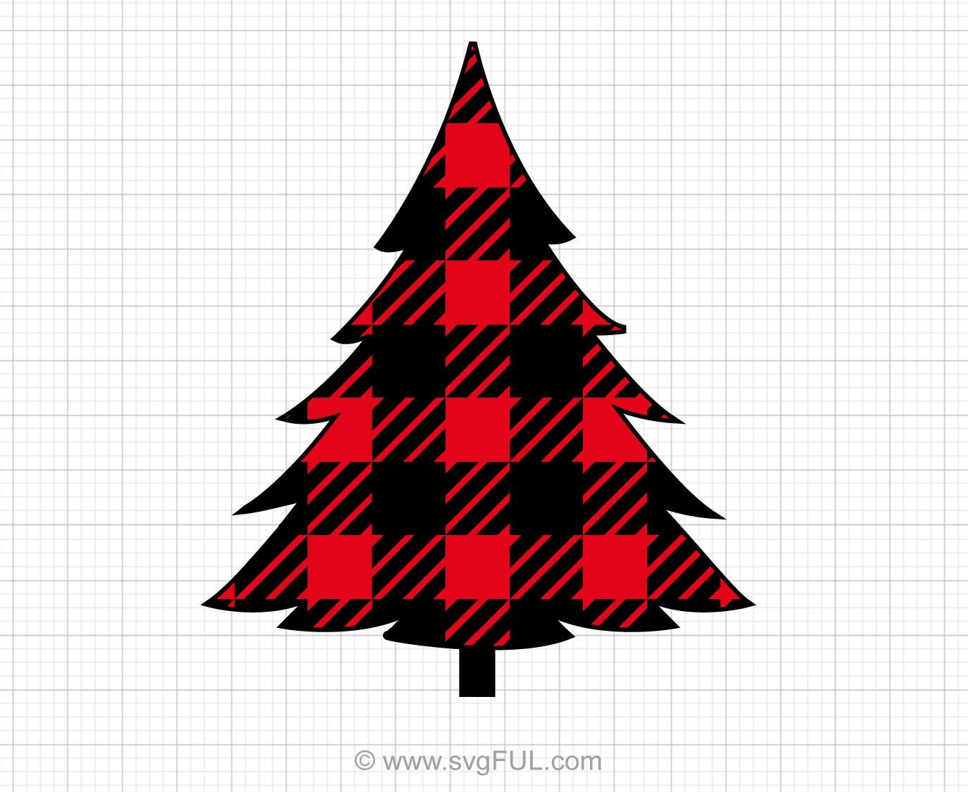 Red Plaid Tree Svg Clipart in 2020 Clip art, Christmas