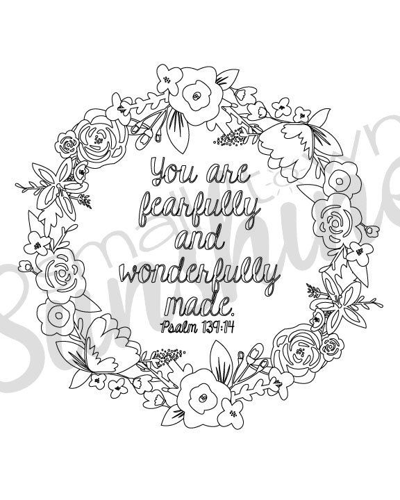 Psalm 139 14 Printable Coloring Page By Smalltownsunshine On