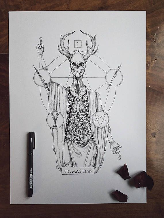 Original Ink Drawing Inktober 2017: Tarot Card The