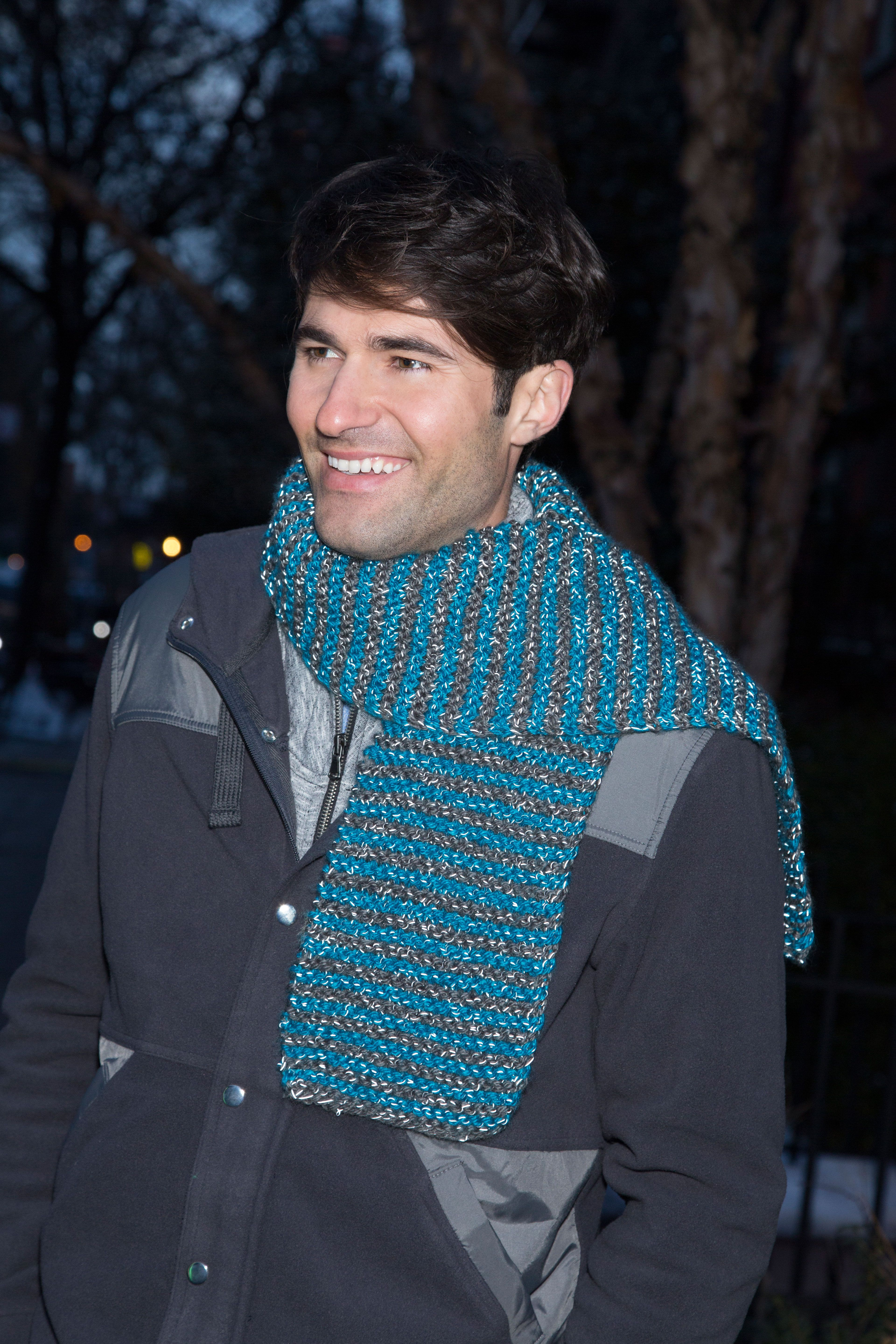 Knit in Stripes Scarf Free Knitting Pattern in Red Heart Yarns ...