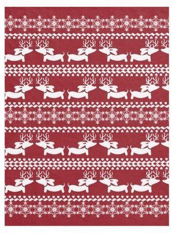 Fair Isle Dachshund Fleece Blanket (Red, Navy, Pink or Green ...
