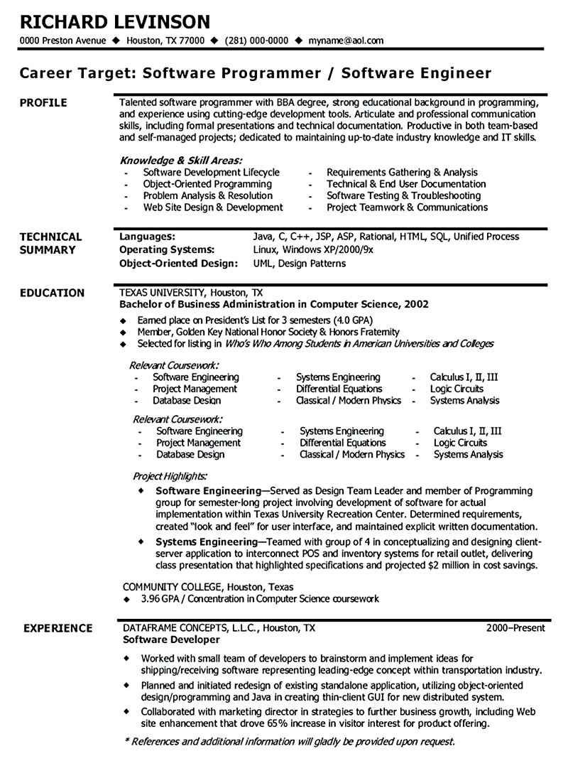 Software Engineer Resume Sample in 2020 Resume software