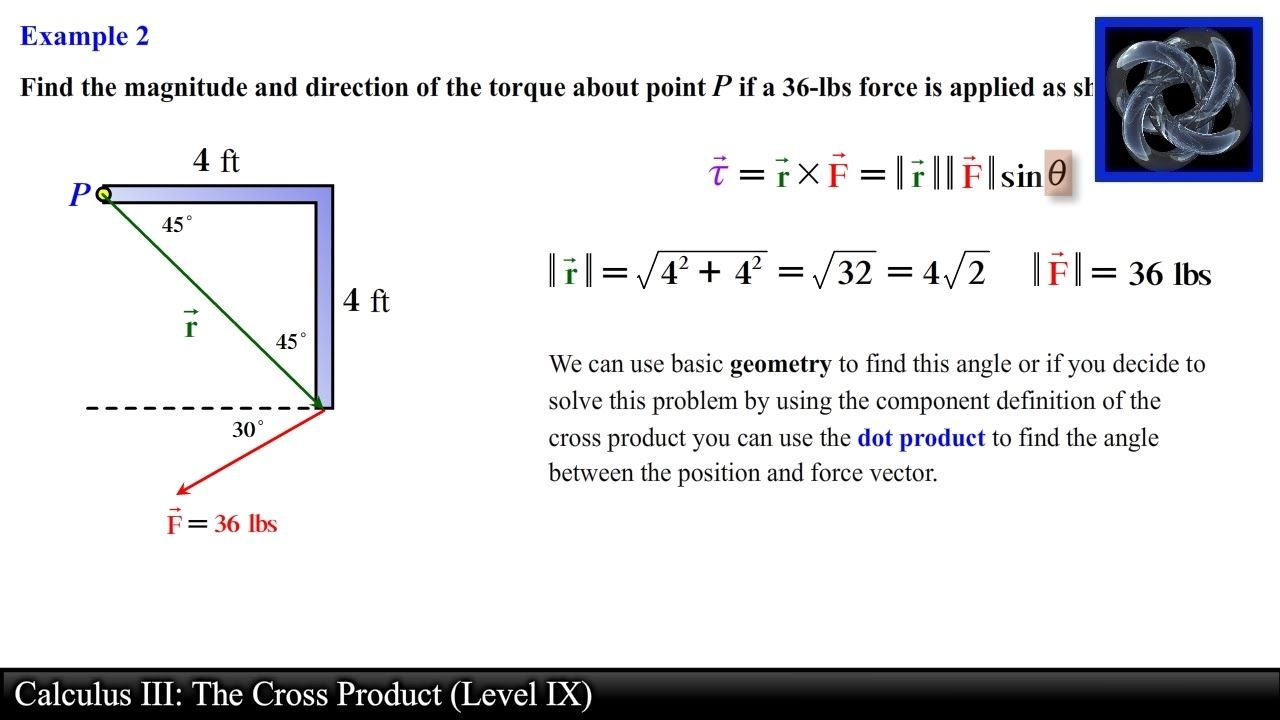Calculus Iii The Cross Product Level   Torque Examples