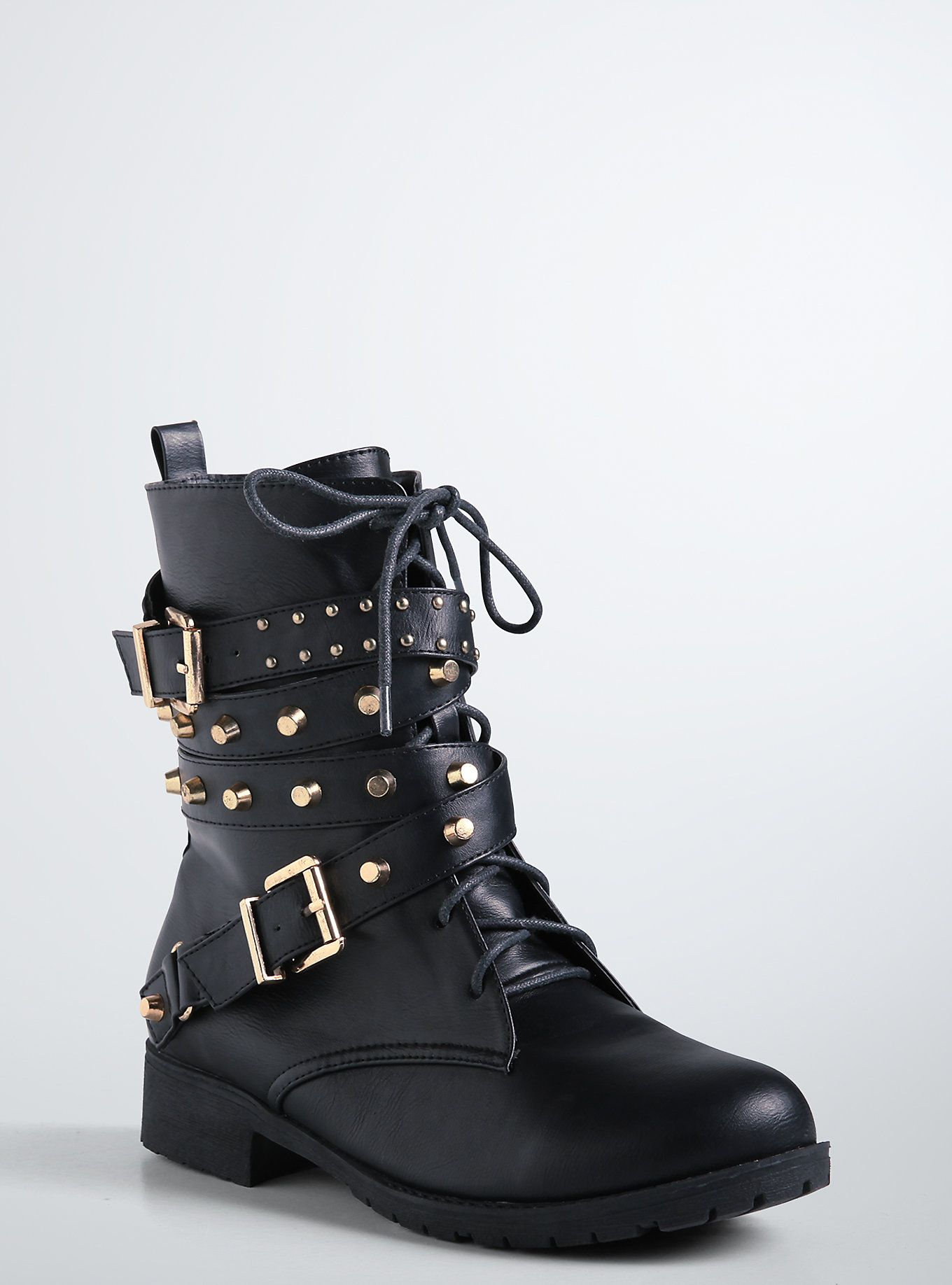 Studded Strappy Combat Boots (Wide Width)