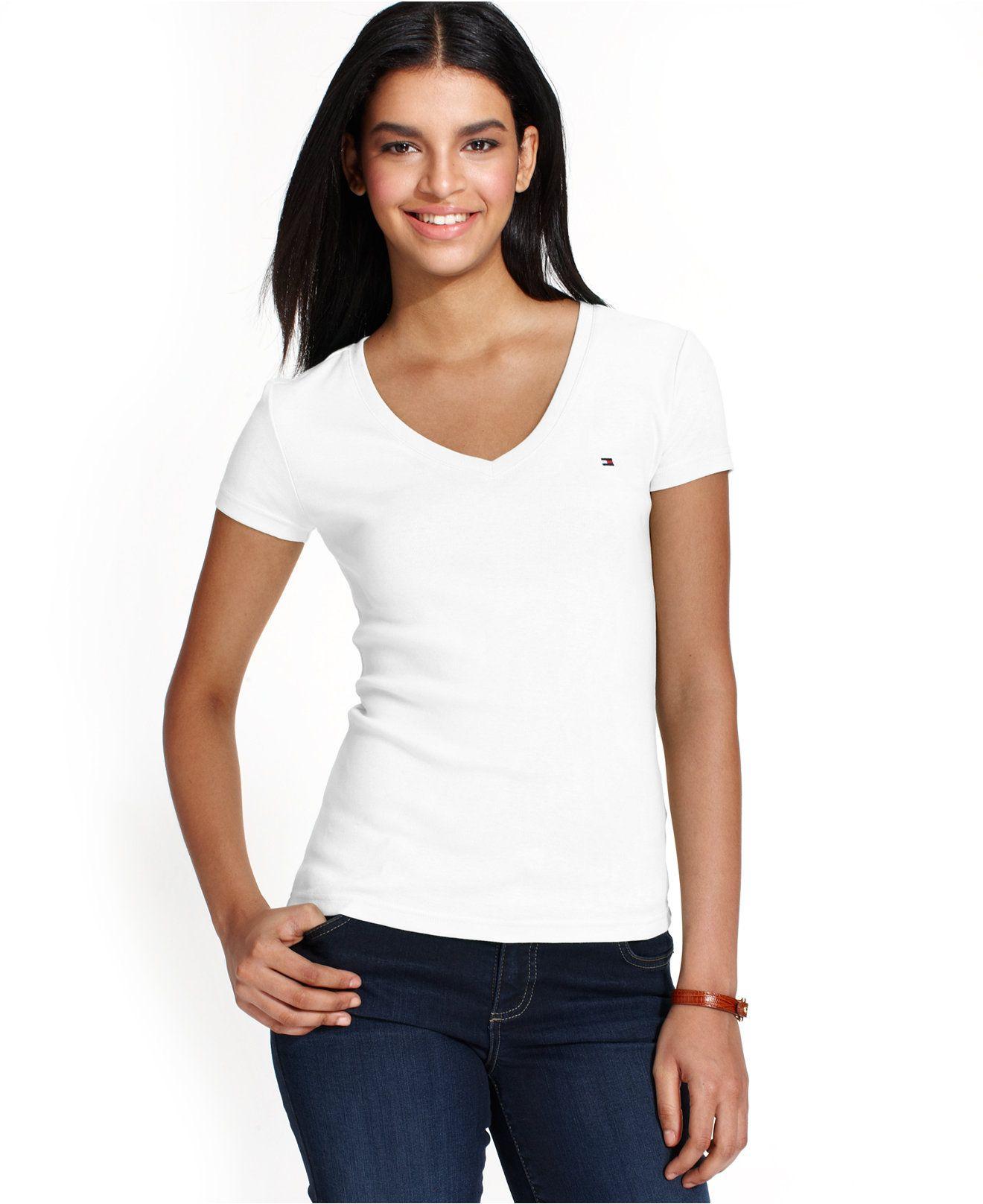 Tommy Hilfiger V-Neck T-Shirt - Tops - Women - Macy s e4a9f0f31