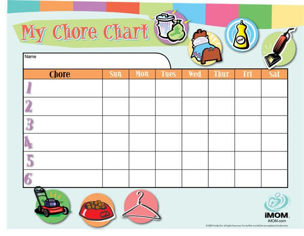 Customizable Chore Chart Children train and Raising kids - chore chart