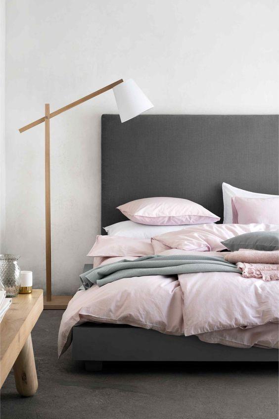 Mixed Linen In The Bedroom Soft Pink And Greys By H M Home