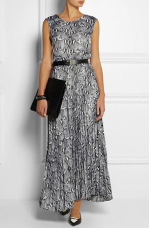 New MICHAEL KORS Collection Gray Snake Print Long Maxi Dress XS netaporter womens dresses.  Fashion is a popular style