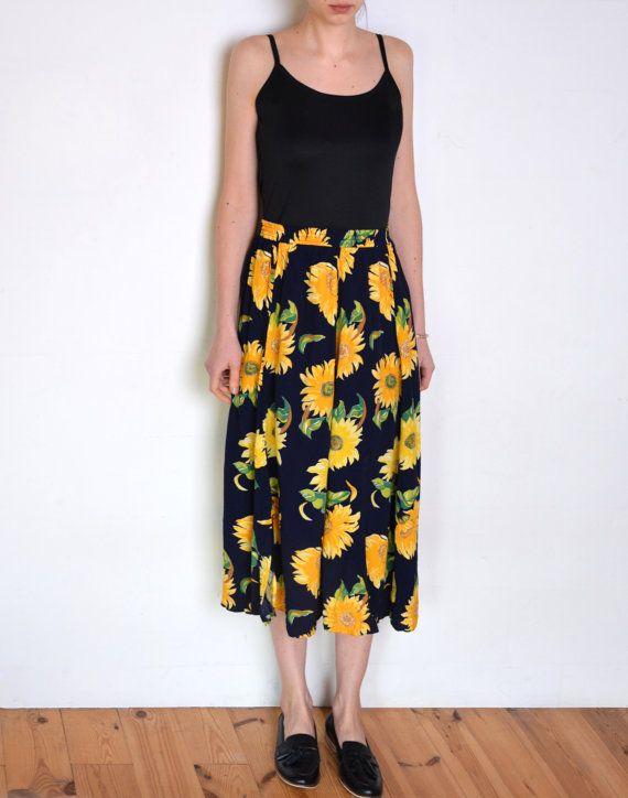 240158d35 90's sunflower midi skirt, summer skirt, flowers print, navy blue ...
