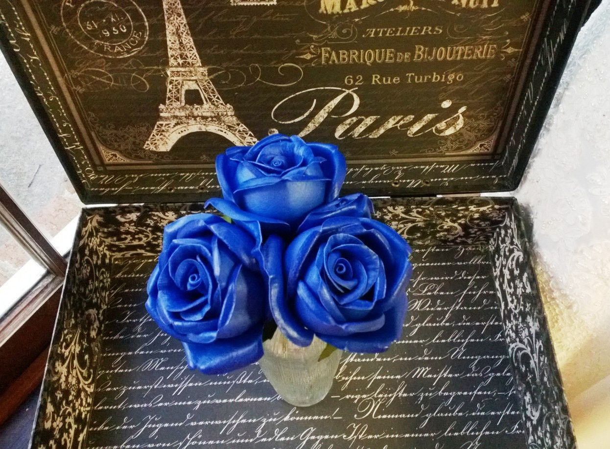 Real Touch Royal Blue Rose Wedding Flowers Royal Blue Bouquet