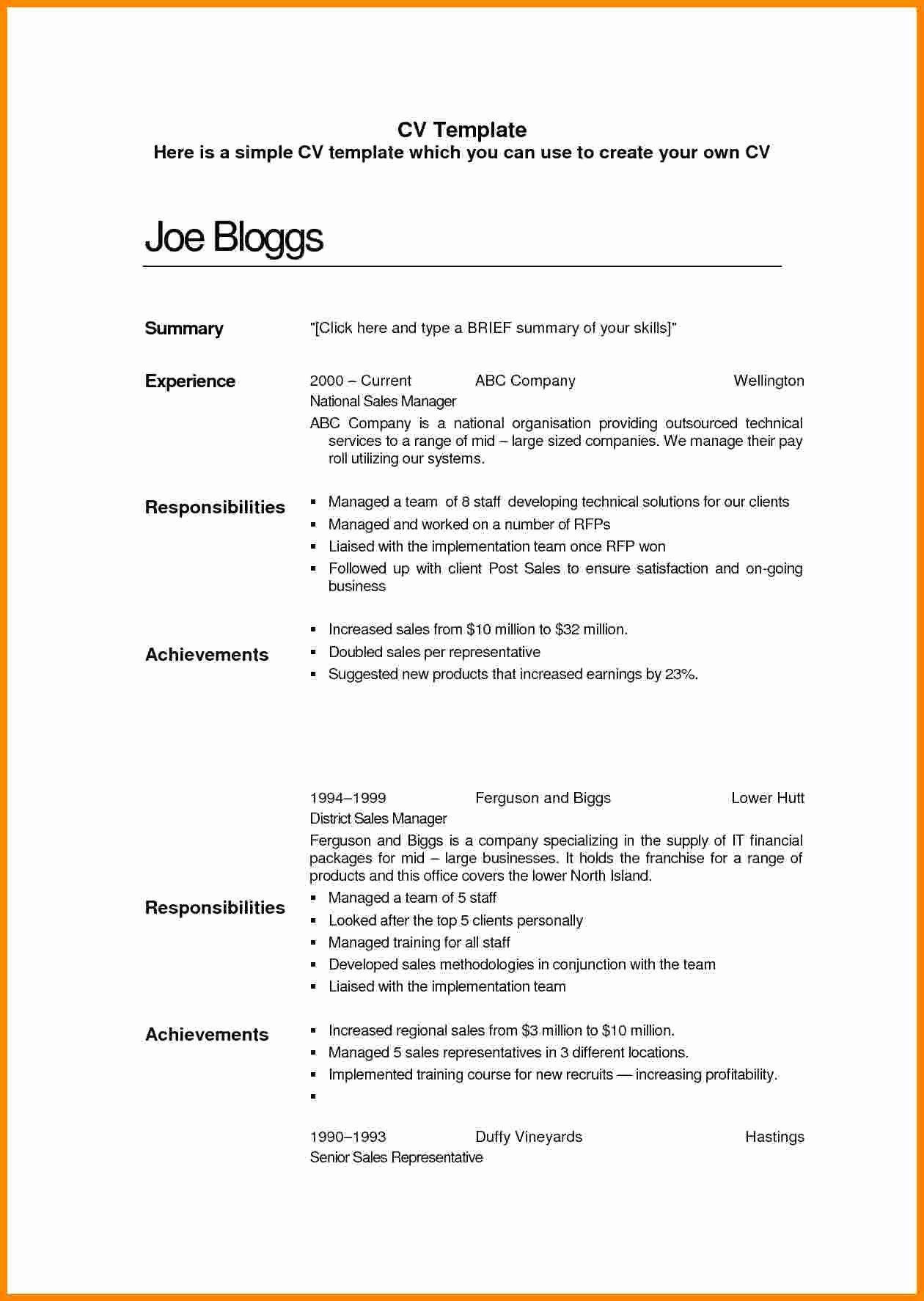 Basic Resume Template Examples Elegant 9 Cv Sample Simple ...