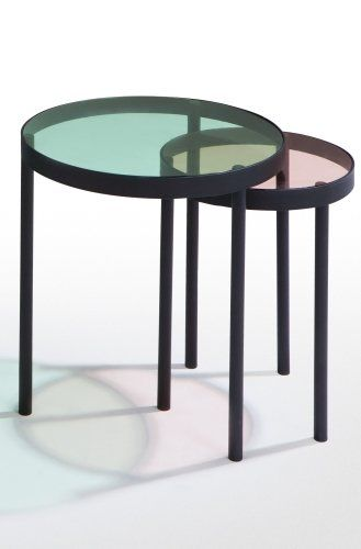 The Chroma Nesting Tables In Pink And Green Matt Black