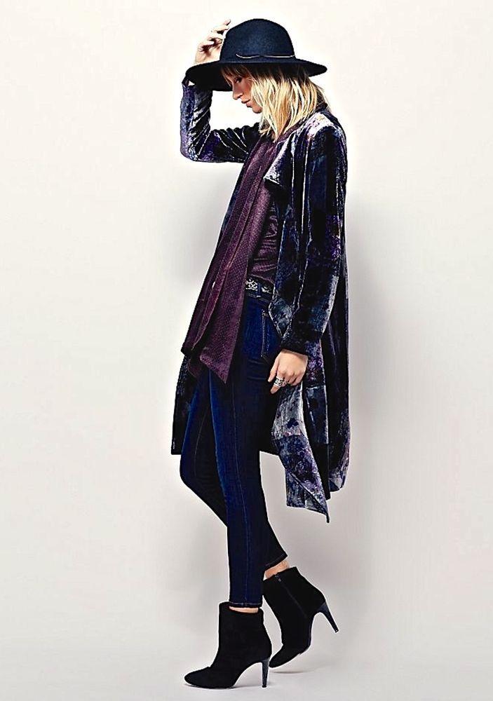 NEW Free People blue gray purple Printed Ruffle Velvet Duster Coat XS #FreePeople #printedvelvetduster