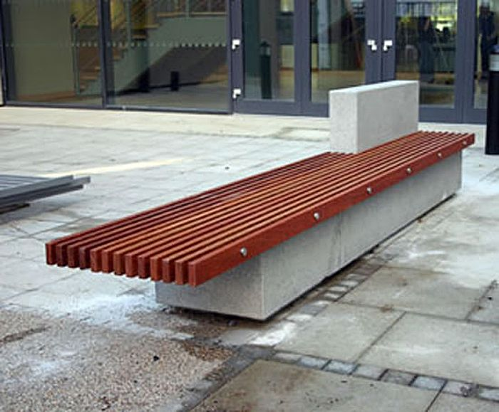 Soca Bench With Hardwood Slats And A Concrete Base