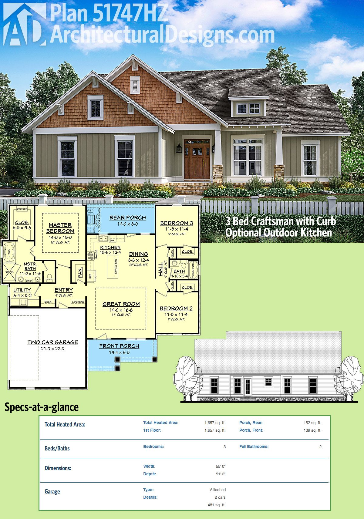 Plan 51747hz 3 Bed Craftsman With Optional Outdoor