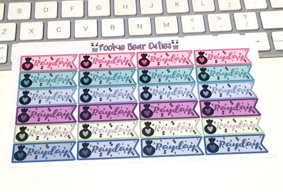 Glitter Payday Page Flag Stickers018 by PookieBearCuties on Etsy