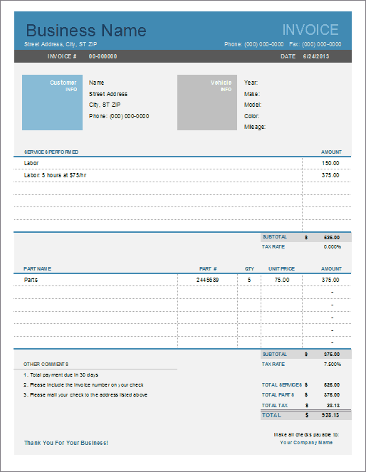 Download The Auto Repair Invoice From VertexCom  Projects To