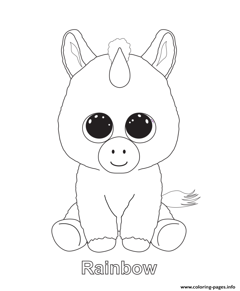 print rainbow beanie boo coloring pages  unicorn coloring