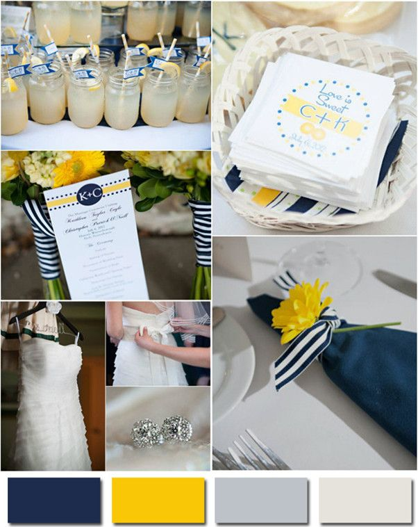 2014 Wedding Colors Navy Blue Yellow And Gray For Nautical Or Beach Weddings