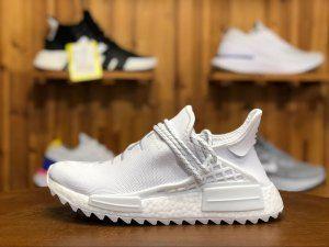 49e55420d1443 Mens Womens Adidas Originals PW Human Race NMD Triple White AC7931 Boys  Basketball Shoes