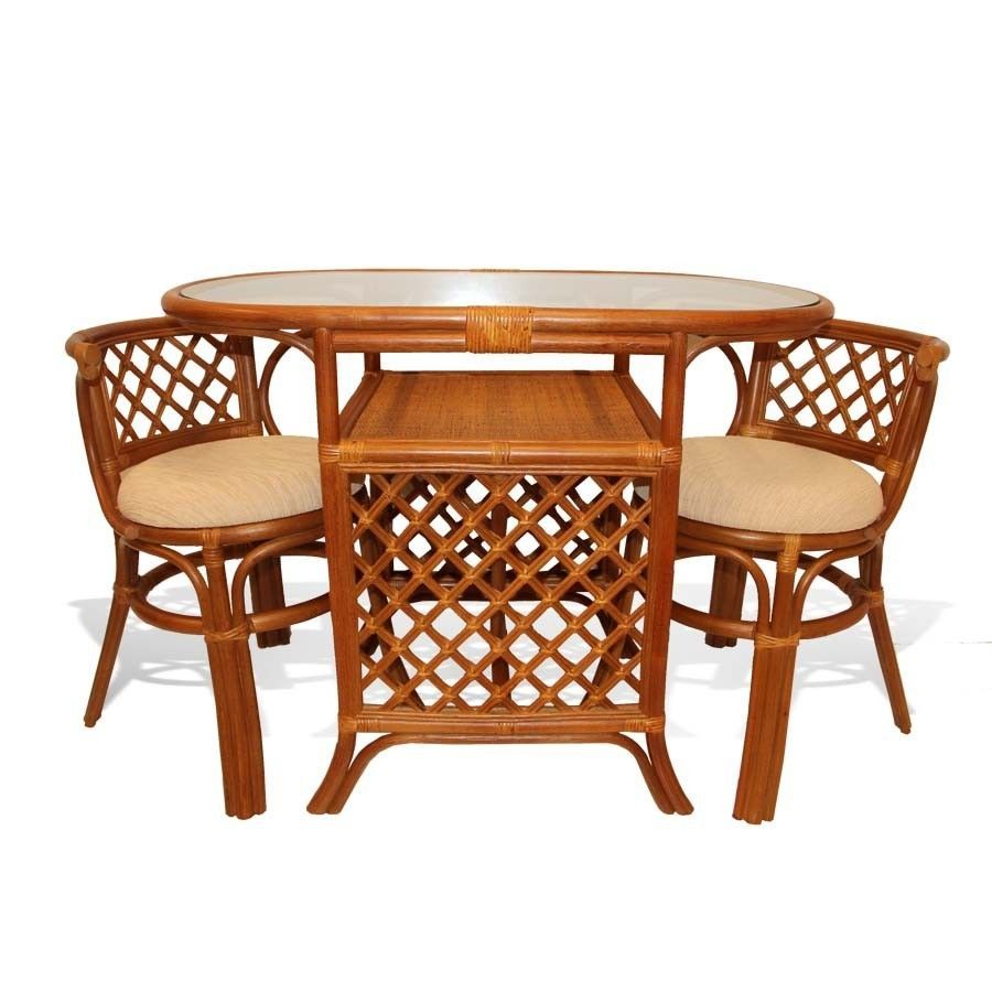 Rattan Table And Chair Set Part - 30: Borneo Handmade Rattan Wicker COMPACT Dinette Dining Set,Oval Table+2 Chairs