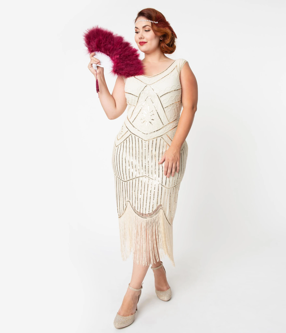 Unique Vintage Plus Size Cream Gold Beaded Leonie Fringe Flapper Dress Plus Size Flapper Dress Fringe Flapper Dress Vintage Pink Dress [ 1164 x 1000 Pixel ]
