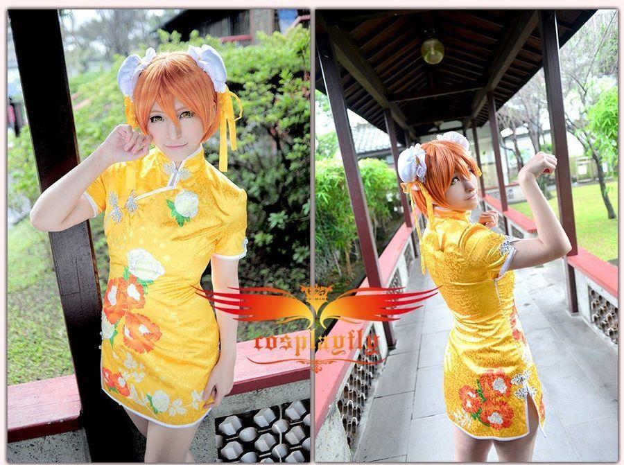 940bf4ce7 LoveLive Rin Hoshizora Cosplay Qipao Cheongsam Chinese Dress Halloween  Costume #Cosplay#Qipao#Hoshizora